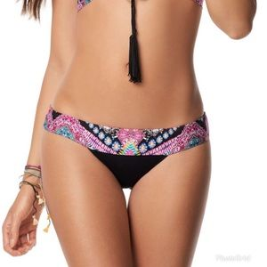 Teeny Bikini Bottom PILYQ Hindi Banded Black Print